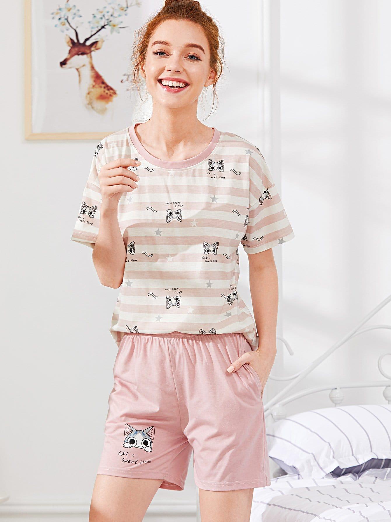Cat Print Striped Tee & Shorts PJ Set