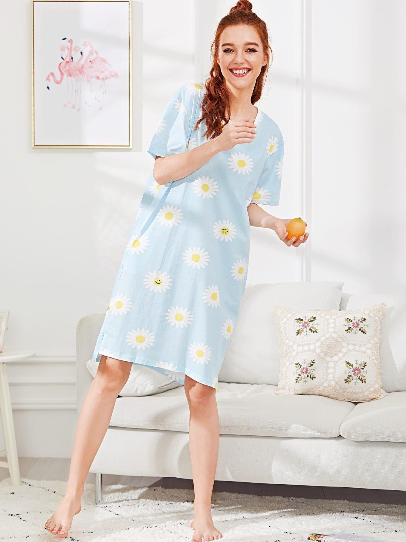 Daisy Print Split Side Dress