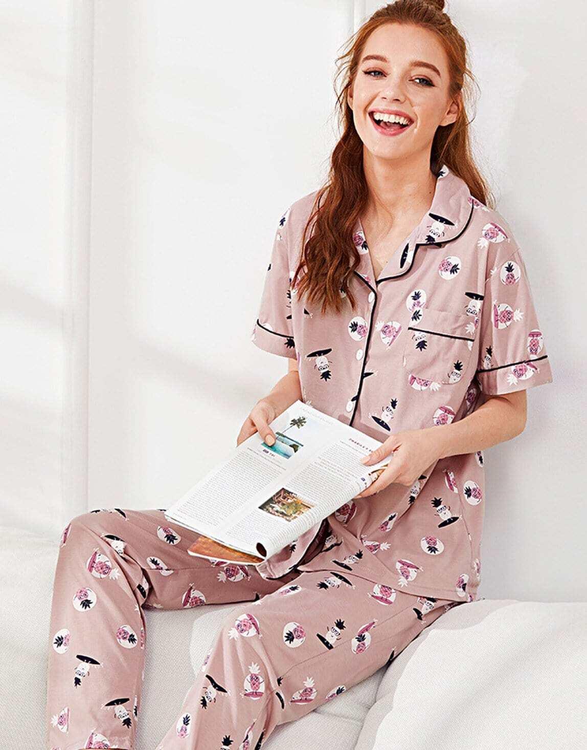 Pineapple Print Shirt & Pants PJ Set