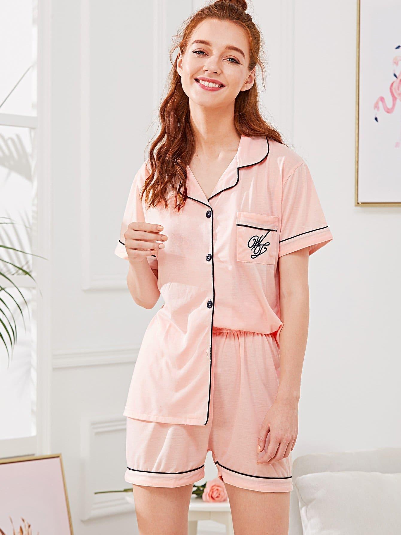 Купить Комплект пижамы контрастная рубашка и шорты, Poly, SheIn