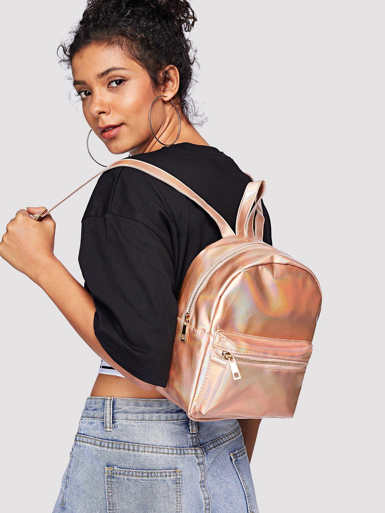 Laser Pocket Front Backpacks Bag heart decor zipper front backpacks bag
