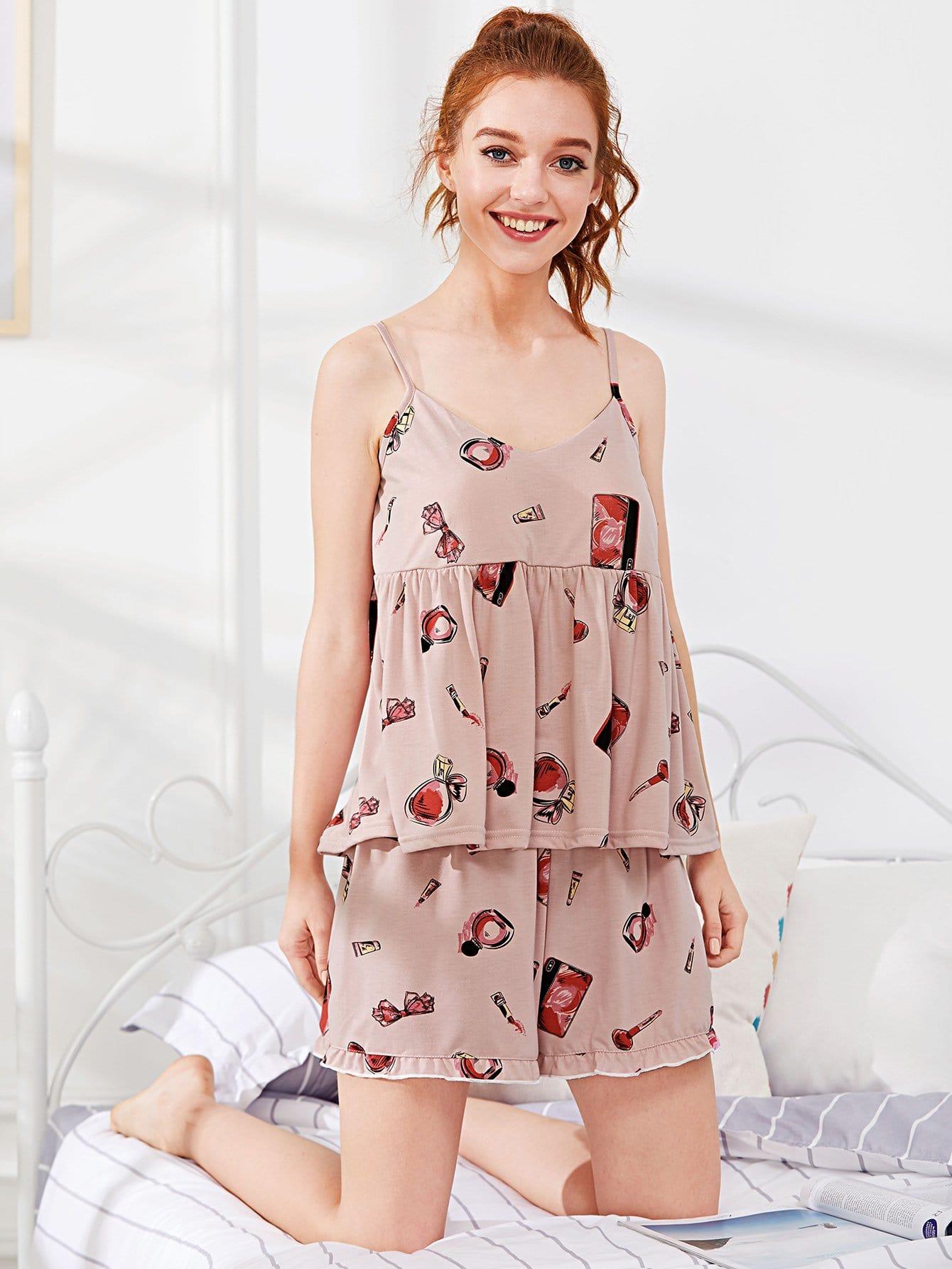 Perfume & Lipstick Print Frill Trim Pajama Set cartoon print frill trim cami pajama set