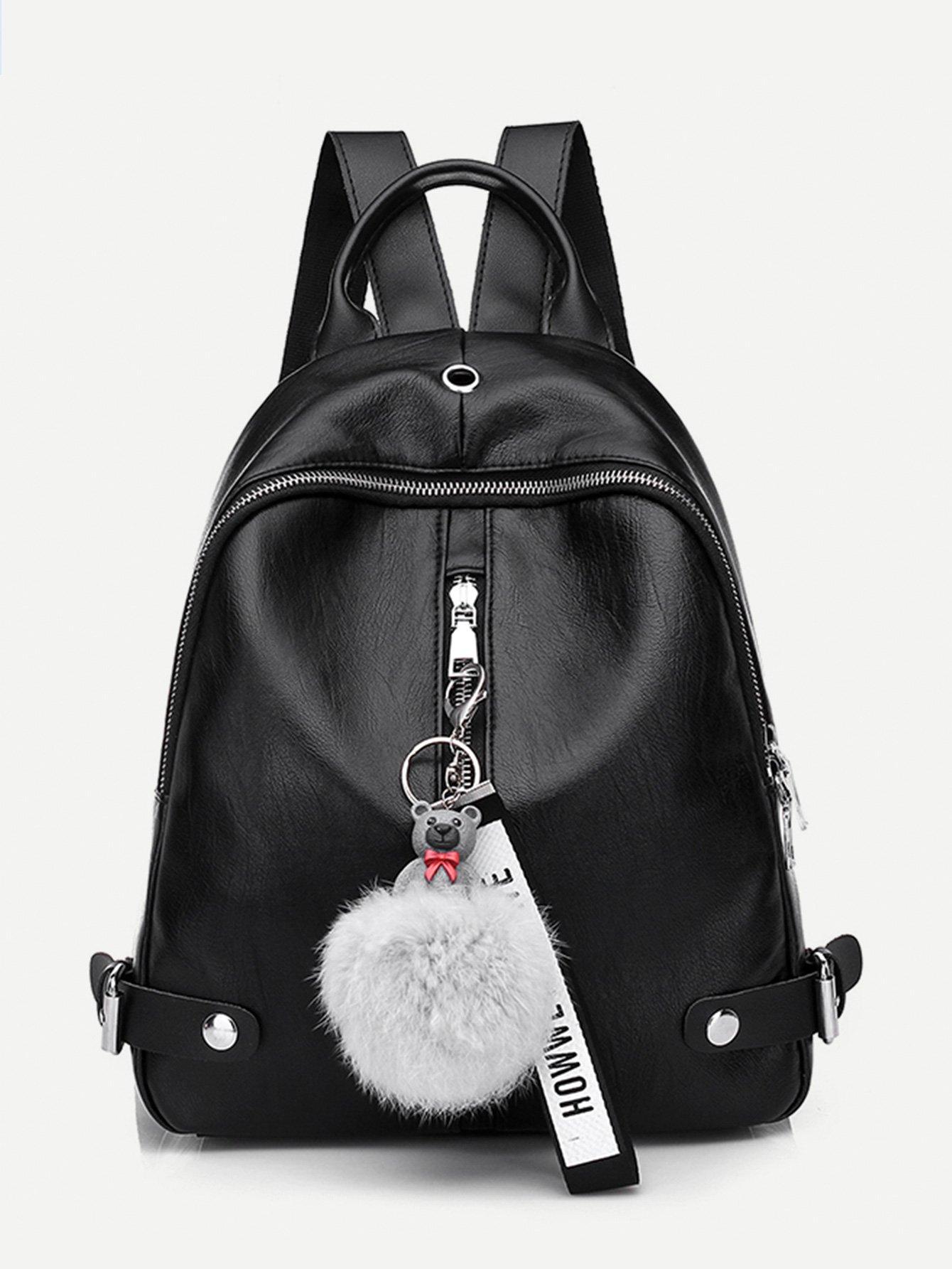 Pom Pom Decor Zip Around Backpack бумажник mulberry rl3557 874 tree zip around rl3557