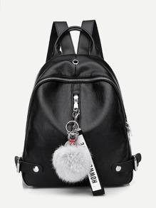 Pom Pom Decor Zip Around Backpack