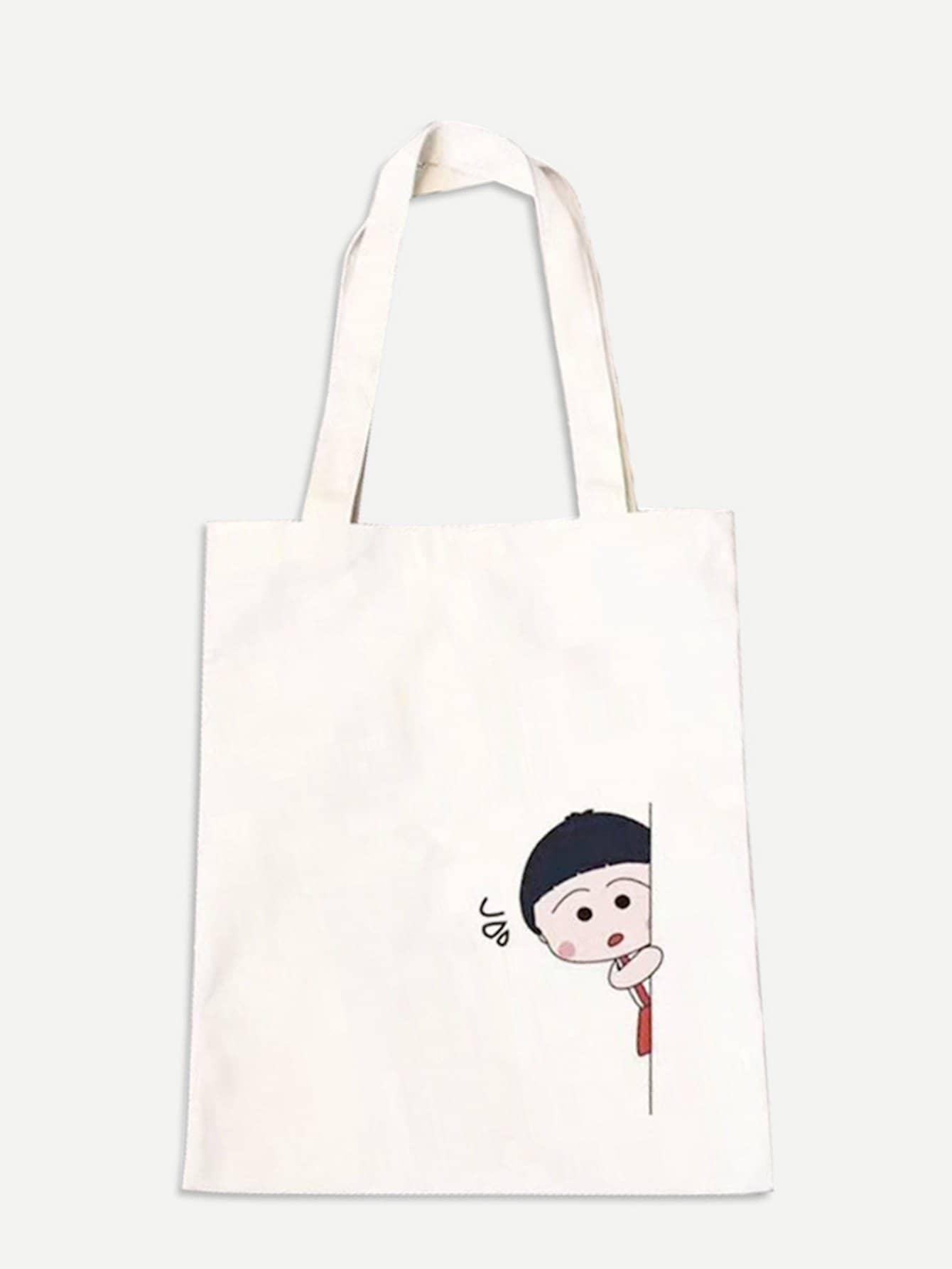 Cartoon Print Shopper Bag french fries print shopper bag