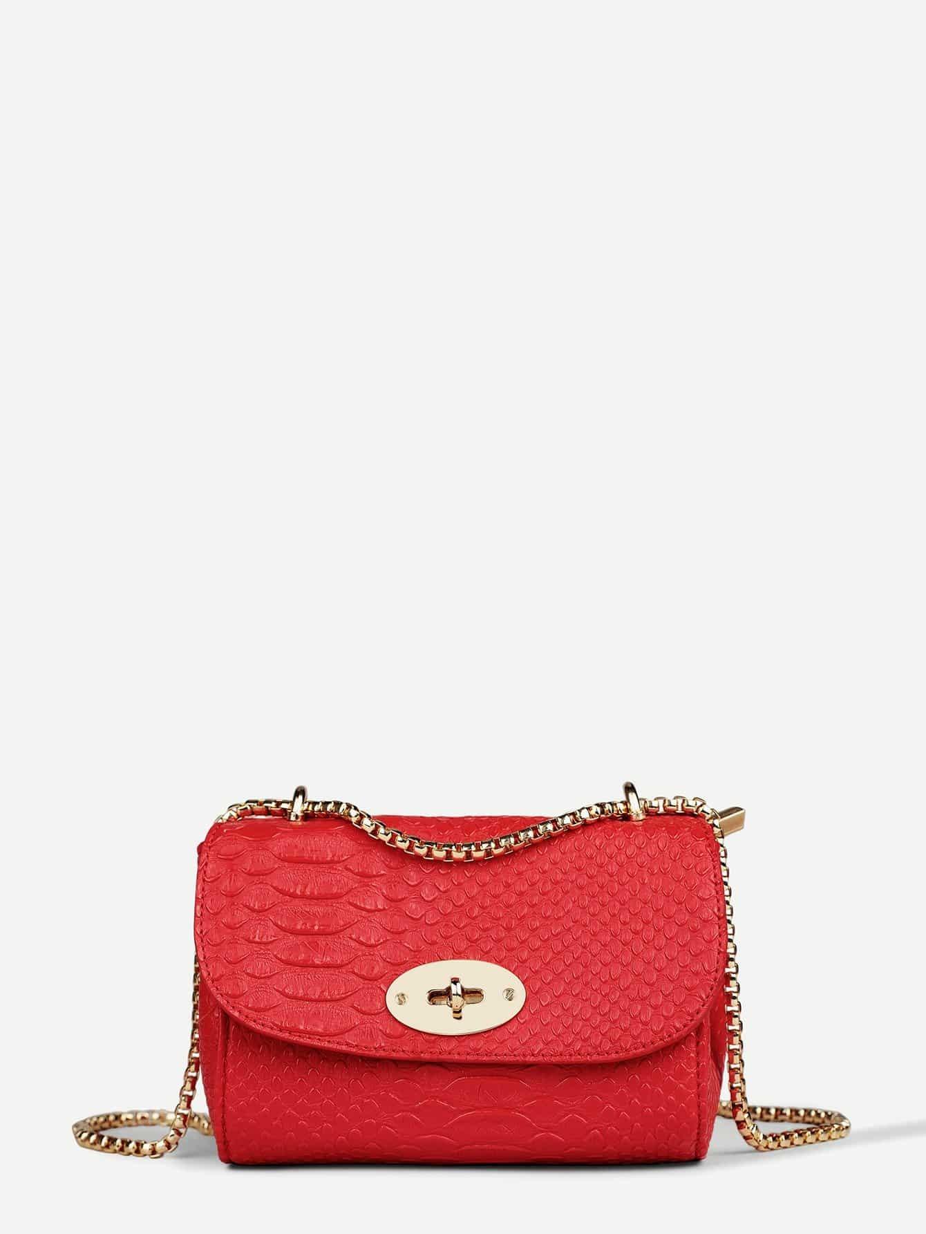 Croc Embossed Chain Shoulder Bag все цены