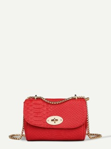 Croc Embossed Chain Shoulder Bag