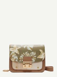 Floral Print Flap Crossbody Bag
