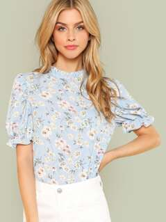 Ditsy Floral Frill Trim Blouse