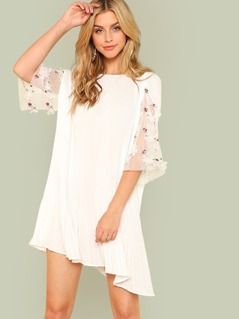 Flower Applique Mesh Sleeve Pleated Dress