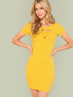 Knot Front Rib Knit Bardot Dress