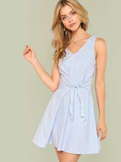 Knot Waist Sleeveless Striped Dress