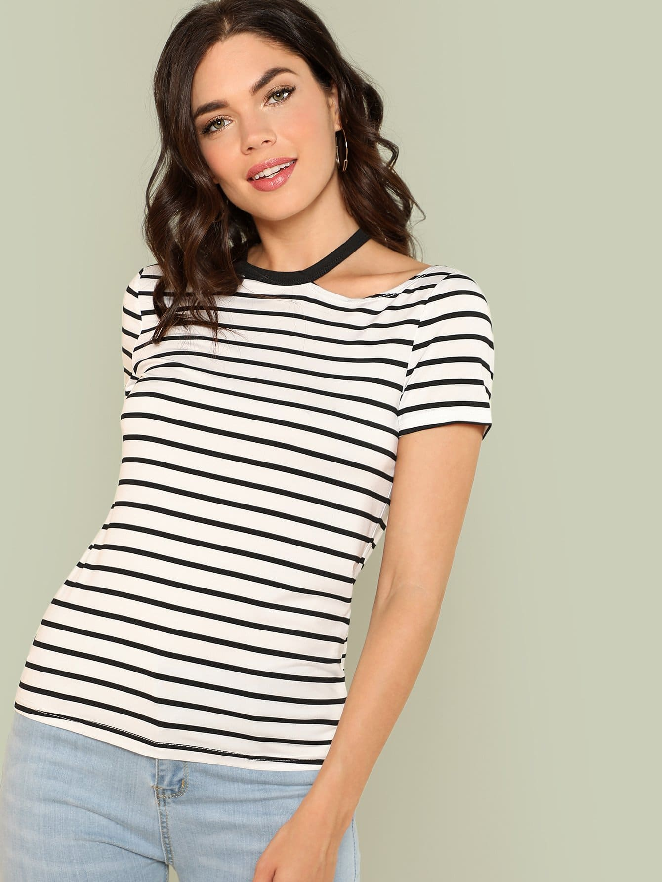 Striped Cut Out Tee