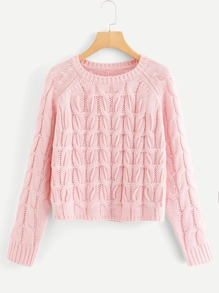 Cable-Knit Raglan Sleeve Jumper
