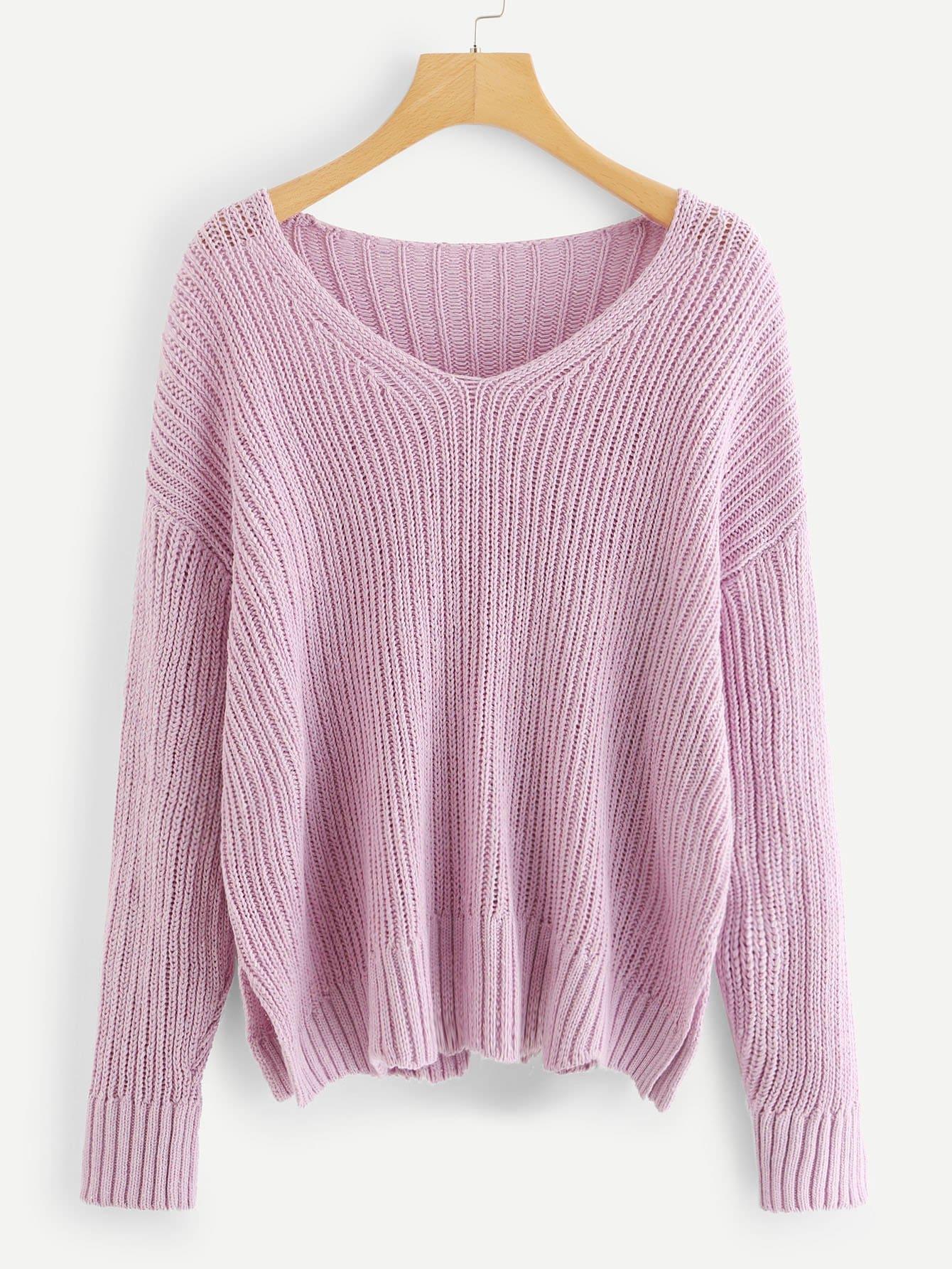 Drop Shoulder Slit Hem Sweater slit drop shoulder high neck sweater