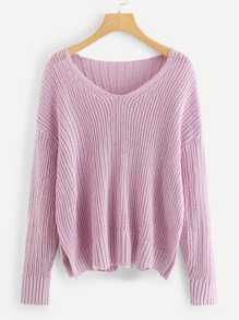 Drop Shoulder Slit Hem Sweater