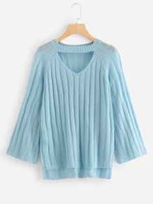V Cut Neck Stepped Hem Jumper
