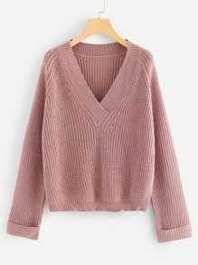 Rolled Up Sleeve V Neck Jumper