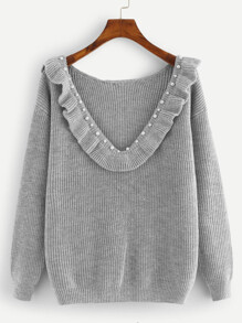 Pearl And Ruffle Trim Plunging Sweater