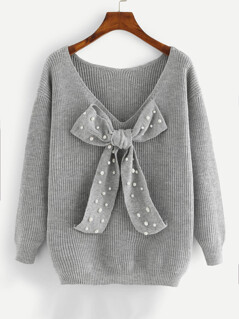 Pearl Beaded Bow Tied Front Sweater