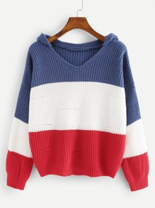 Loose Knit Color Block Hoodie Jumper