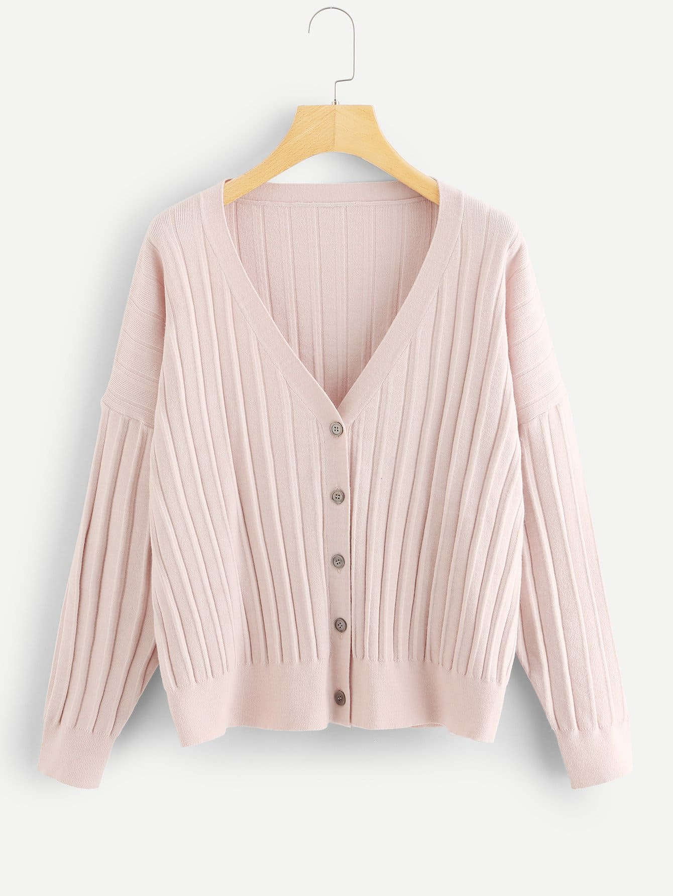 цена Dropped Shoulder Pleated Button Up Sweater