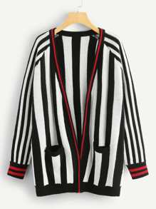 Pocket Patched Raglan Sleeve Striped Cardigan