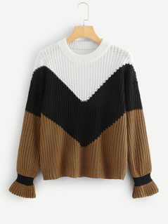 Flounce Sleeve Colorblock Chevron Jumper