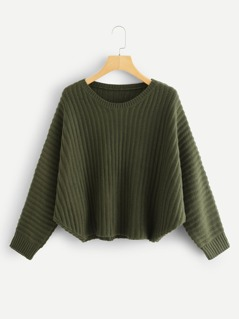 Cut And Sew Solid Cocoon Jumper