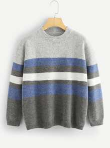 Drop Shoulder Color Block Marled Jumper