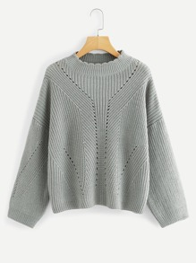 Frill Neck Eyelet Solid Sweater