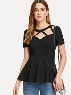 Cut Out Neck Solid Peplum Top