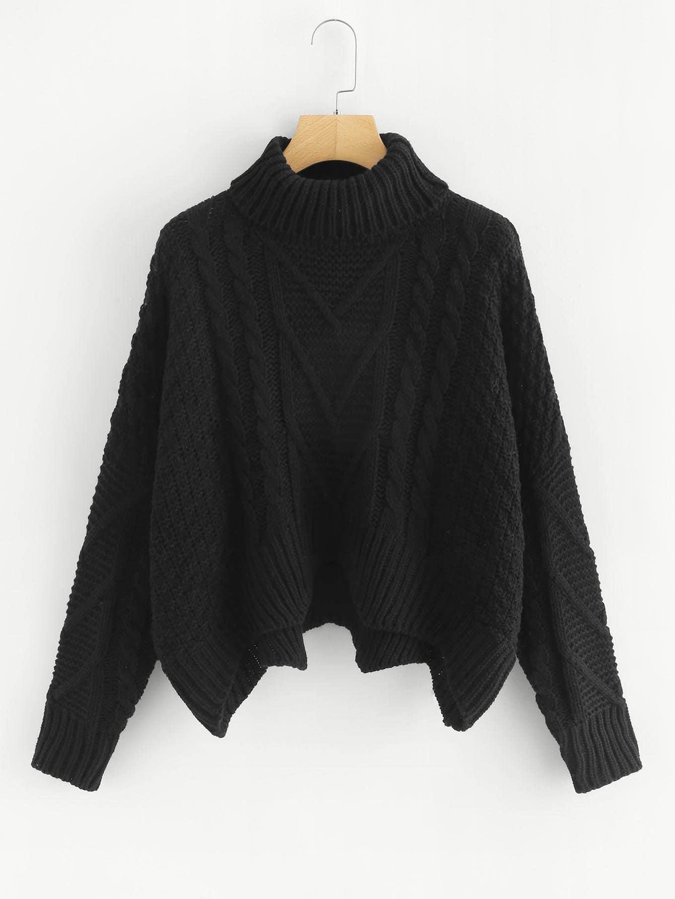 Mixed Knit Asymmetrical Hem Jumper asymmetrical cutout shoulder jumper