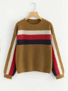 Lantern Sleeve Color Block Panel Jumper