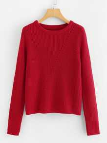 Eyelet Front Solid Sweater