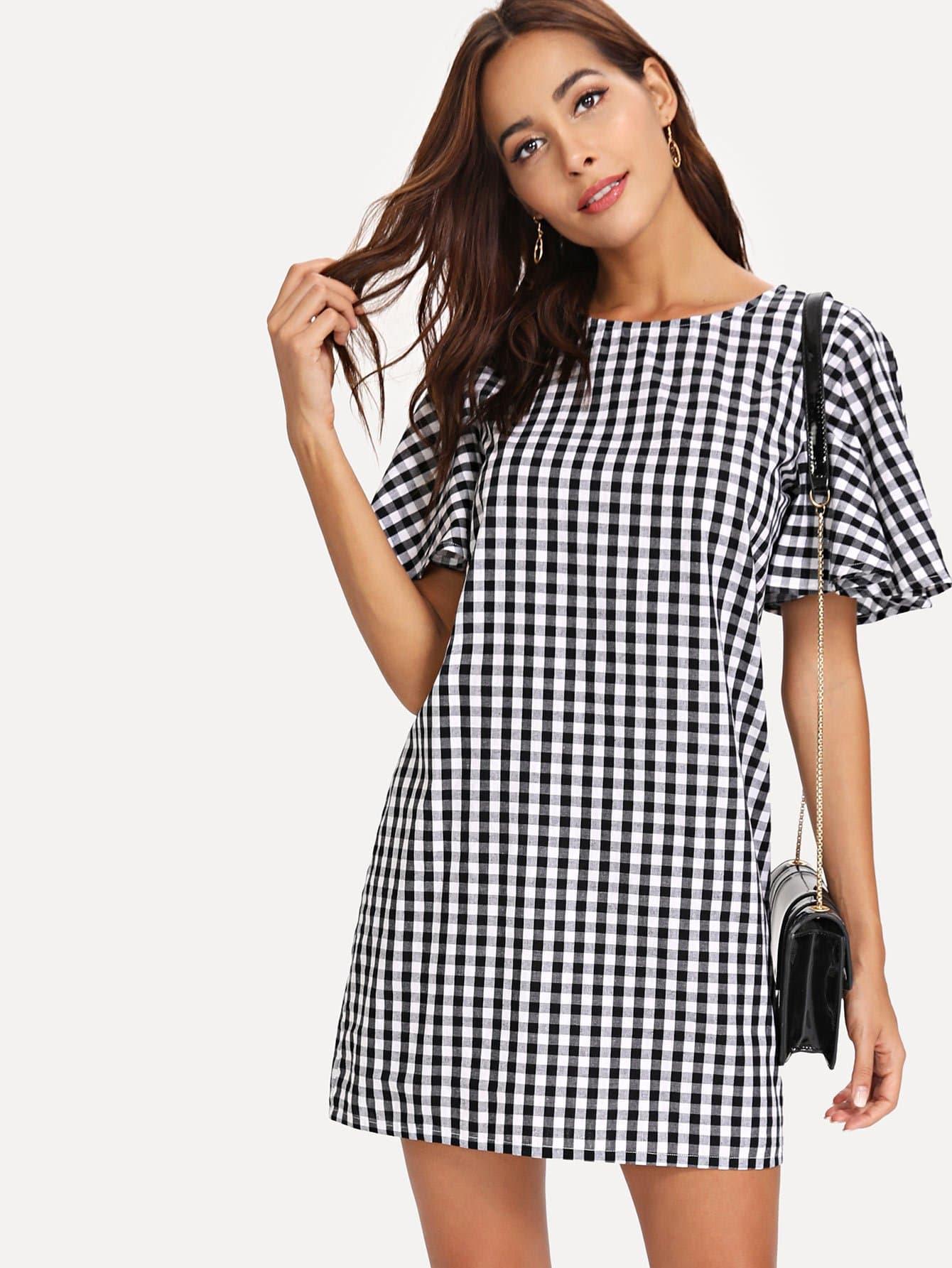 Купить Платье с принтом и широкими рукавами, Giulia, SheIn