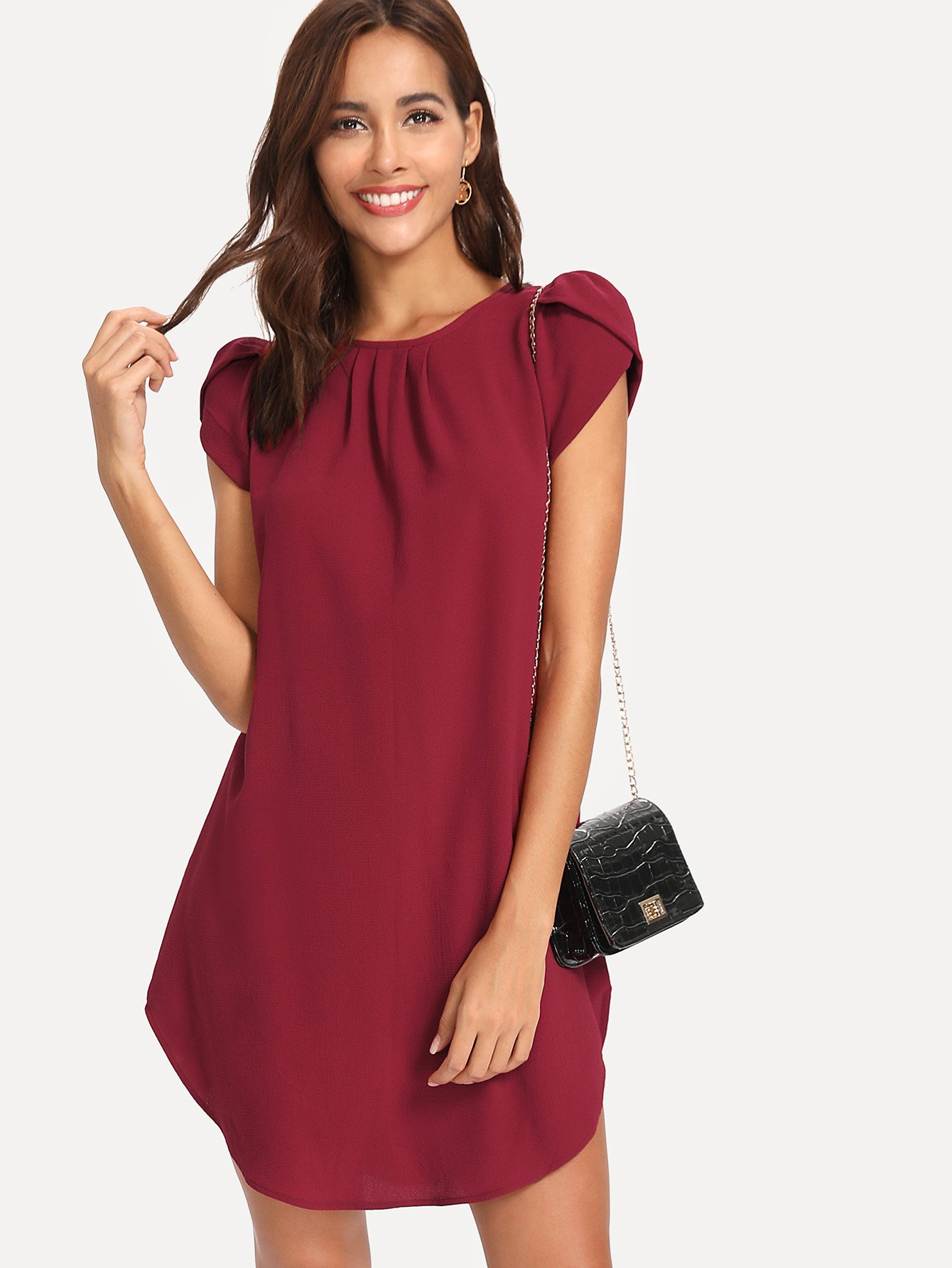 Petal Puff Sleeve Curved Hem Dress petal sleeve wrap dip hem dress
