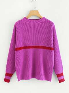 Neon Pink Mock Neck Stripe Insert Jumper