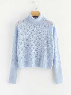 Rolled Neck Open Knit Argyle Sweater