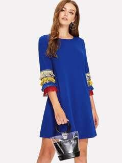Layered Fringe Embellished Tunic Dress