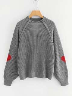 Heart Insert Raglan Sleeve Sweater