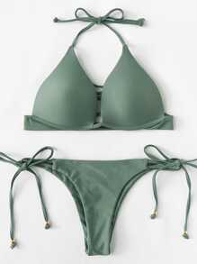 Self Tie Halterneck Strappy Bikini Set