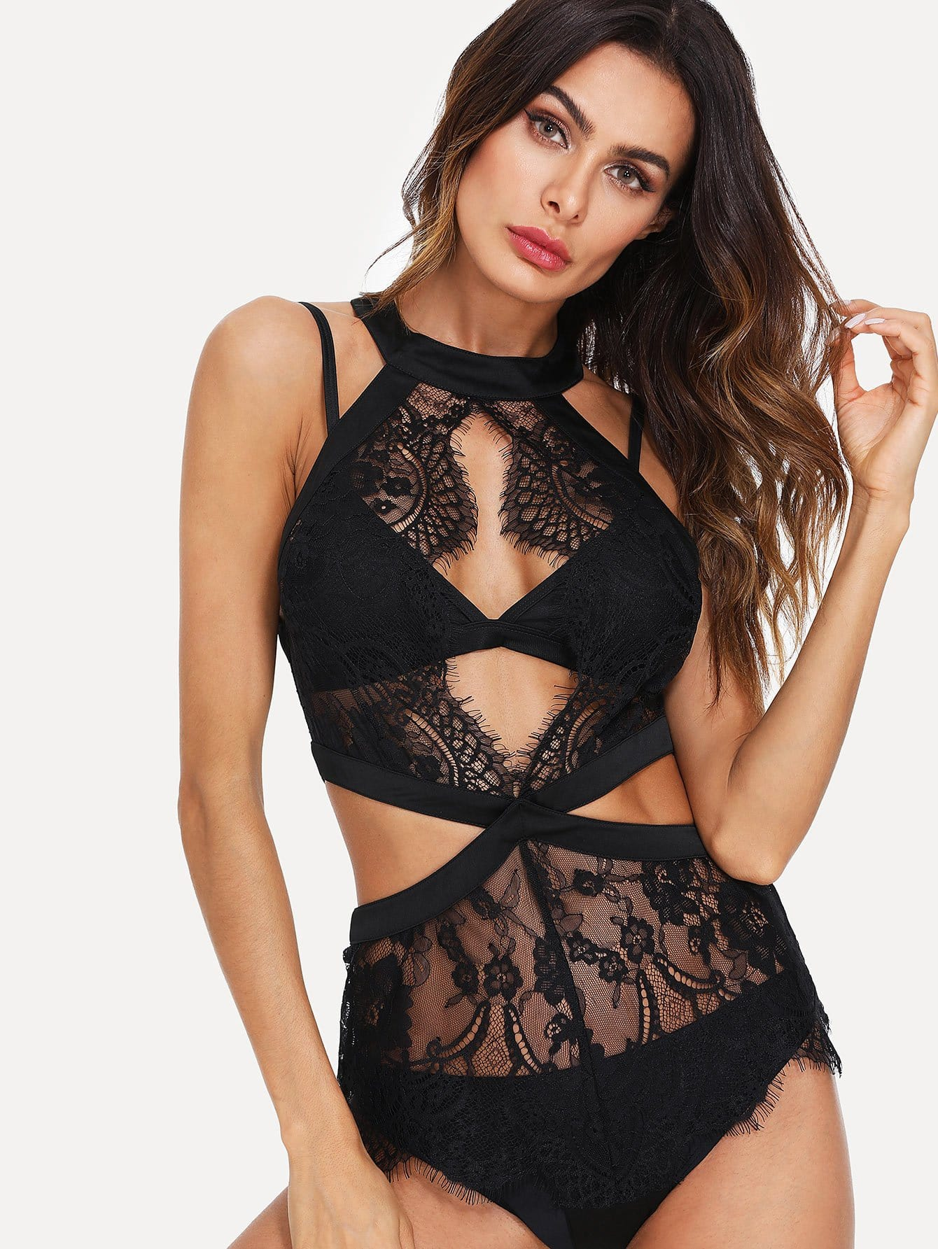 Cut Out Detail Eyelash Lace Teddy Without Bra Set pink lace detail cut out v neck see through fishnet teddy