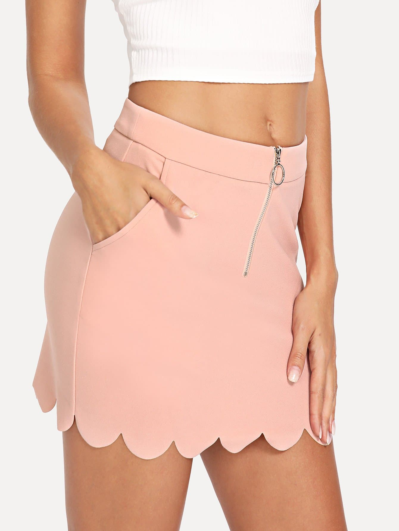 O-Ring Zip Up Scallop Edge Skirt ruffle waist zip back scallop hem embroidered gingham skirt