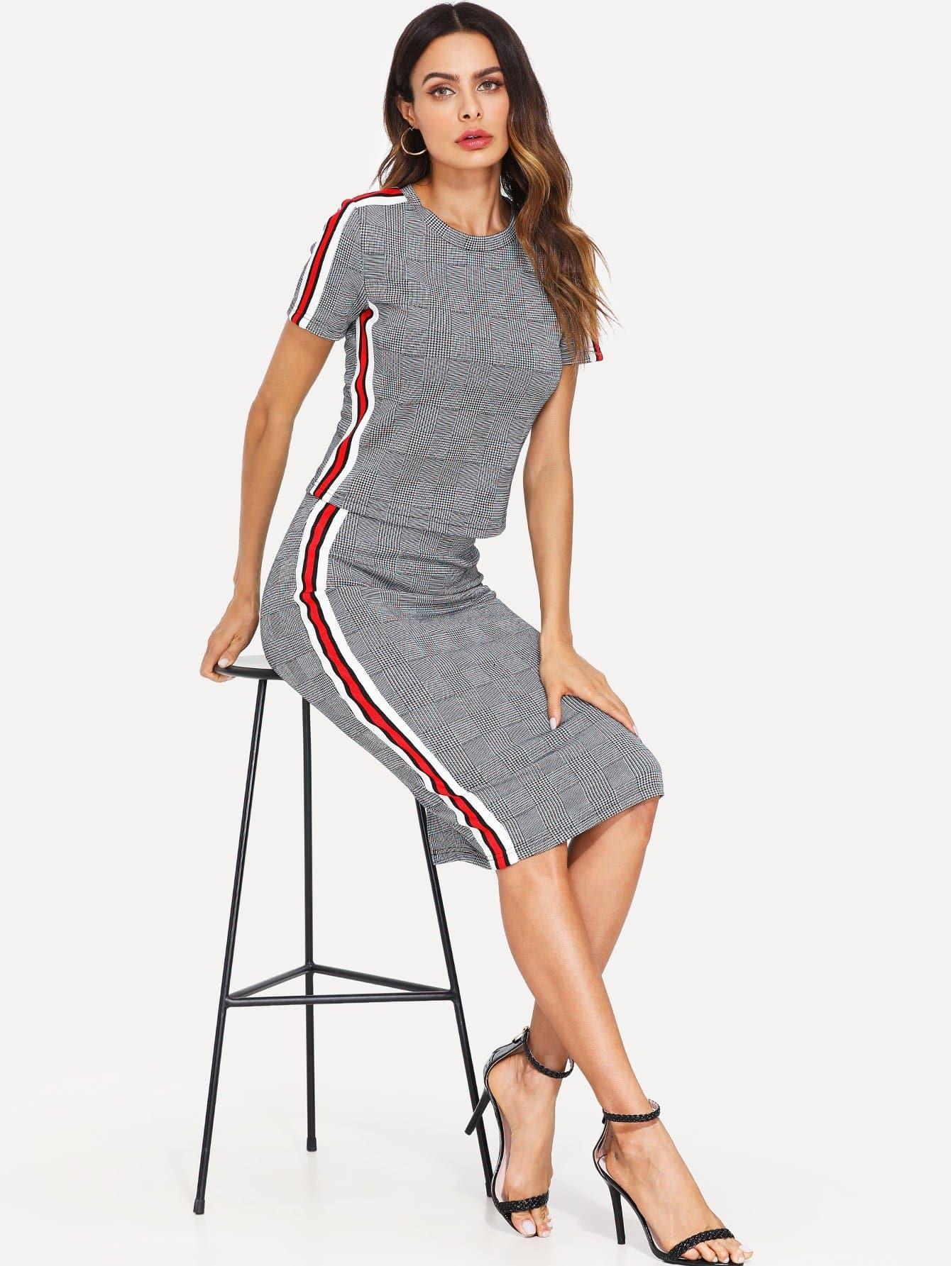 Contrast Striped Side Top & Split Hem Skirt Set uneven hem striped midi skirt
