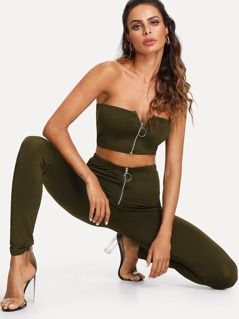 Ring Zip Up Bandeau Top And Pants Set