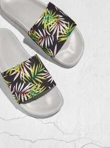 Tropical Print Flat Sliders