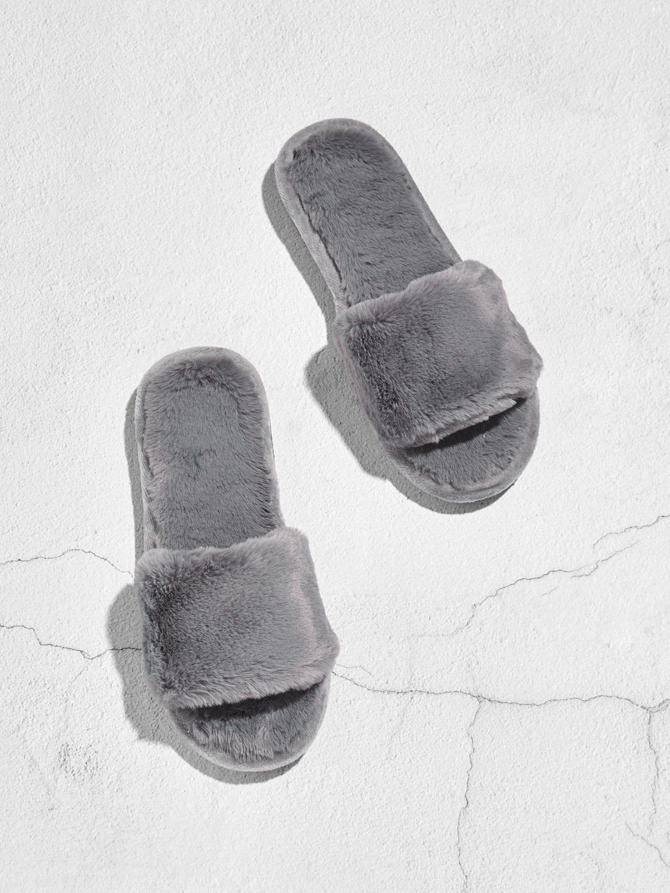 Faux Fur Flat Slippers все цены