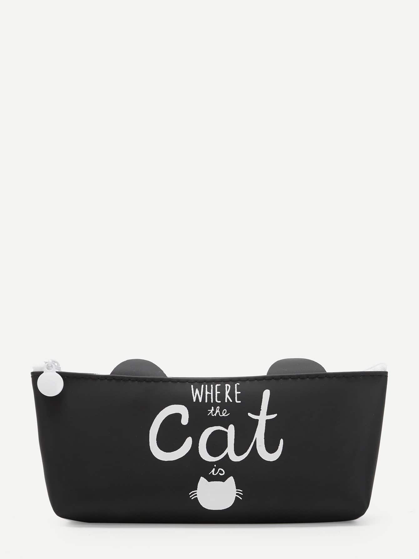 Cat Print Pencil Case strawberry print pencil case