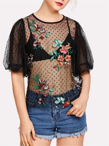 Floral Embroidered Lantern Sleeve Sheer Top
